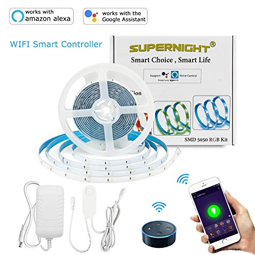 SUPERNIGHT Smart LED Strip Light, Compatible with Alexa & Google Super Bright WiFi Smartphone Controlled Waterproof Color Changing 16.4ft 5050 RGB Tape Light UL-Listed Power Supply, Voice Controller -