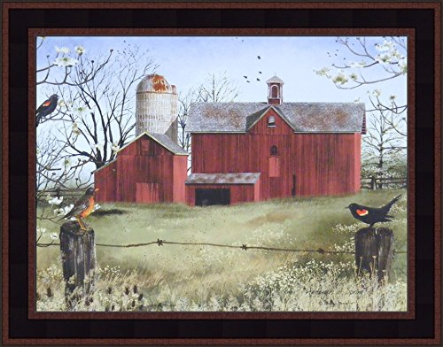 Home Cabin D cor Harbingers of Spring by Billy Jacobs 15×19 Country Barn Red Winged Black Birds Flowers Folk Art Print Framed Picture
