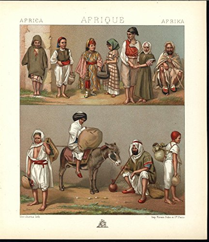 North Africans Smoking Well Dressed Child c.1870 antique chromolithograph -