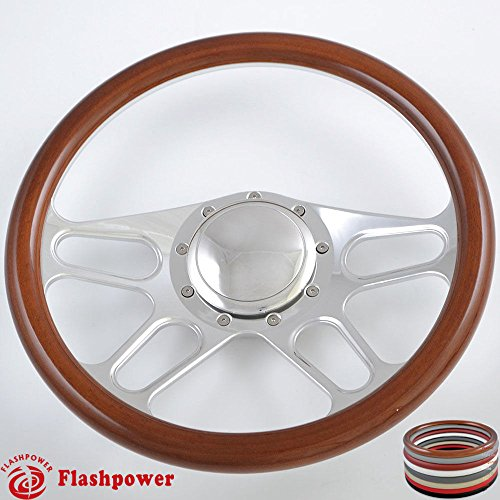 Billet Half Wrap Steering Wheel - Flashpower 14'' Billet 4-slot Half Wrap 9 Bolts Steering Wheel with 2'' Dish and Horn Button (Walnut Wood)