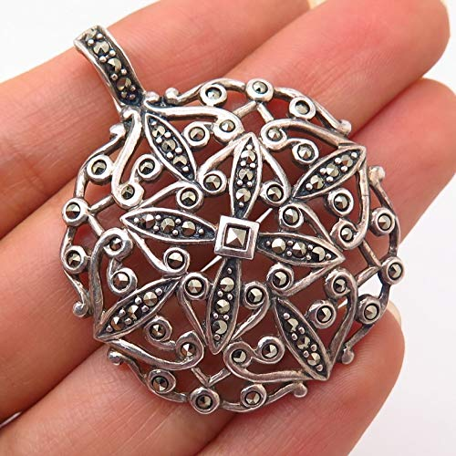 - 925 Sterling Silver Real Marcasite Gemstone Ornate Cutout Design Pendant Jewelry Making Supply by Wholesale Charms