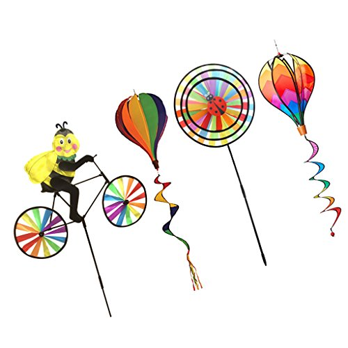 (MonkeyJack 4 Pieces Hot Air Balloon Wind Wheel Windsock Kites & Windmills Garden Yard Lawn Decor Outdoor Toy Easy to Carry)