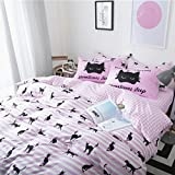 HIGOGOGO 4-piece Home Textiles 100% Cotton Fashion Black Cat Duvet Cover Set, Pink White Plaid Flat Sheet, Children's Bedding Set Full Size (Full)