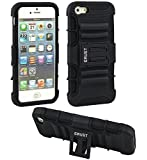 Crust Armor Kick Stand Back Cover For Apple iPhone SE / iPhone 5S / iPhone 5, Shock Proof Dual Layer Hybrid Hard & Soft Case - (Black)