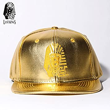 Rare 100% Authentic Last Kings ALL GOLD Leather Snapback Tyga Hat ... f3eddcd3fe1