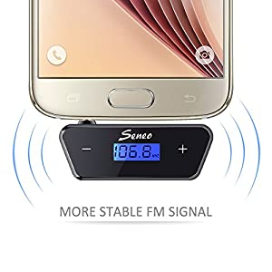 Seneo 3.5mm FM Transmitter, In-car Wireless Radio Transmitter Audio Dongle Adpter for iPhone 5 / 5s / SE / 6 / 6 Plus / 6s / 6s Plus HTC Sony LG Blackberry Nokia Motorola,Tablet and MP3/MP4 players