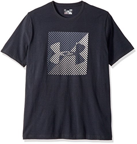 Under Armour Men's Linear Shift Short Sleeve Athletic Shirt, Black/White, Medium
