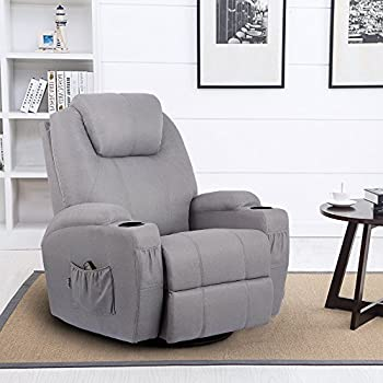 Esright Grey Fabric Massage Recliner Chair 360 Degree Swivel Heated  Ergonomic Lounge
