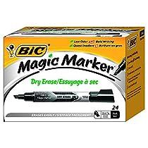 BIC GELITP241-BLK Magic Marker Liquid Ink Dry Erase Black Tank Style Box of 24