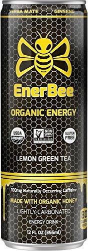 EnerBee Organic Sparkling Energy Drink, Honey Lemon Green Tea, 12-Ounce (Pack of 12)