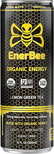 EnerBee Organic Sparkling Energy Drink, Honey Lemon Green Tea, 12-Ounce (Pack of 12)