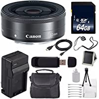Canon EF-M 22mm f/2 STM Lens + 64GB SDXC Class 10 Memory Card 6AVE Bundle 1 (International Verion) No Warranty