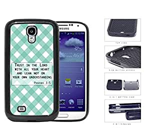 Proverbs 3:5 Bible Verse with Teal & White Stripes Diamonds Pattern [Samsung Galaxy S4 I9500] 2-piece Dual Layer High Impact Black Silicone Cover