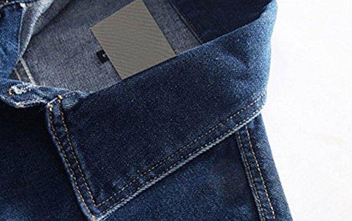 Button Denim Blue Down Classic Chouyatou Unlined Jackets Men's Collar Trucker xwZtHYSz
