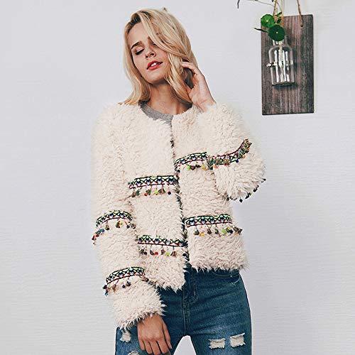 White Tassel Wool Coat Ladies Artificial Jacket Short Warm Parka Womens Holywin w8UqHxv8