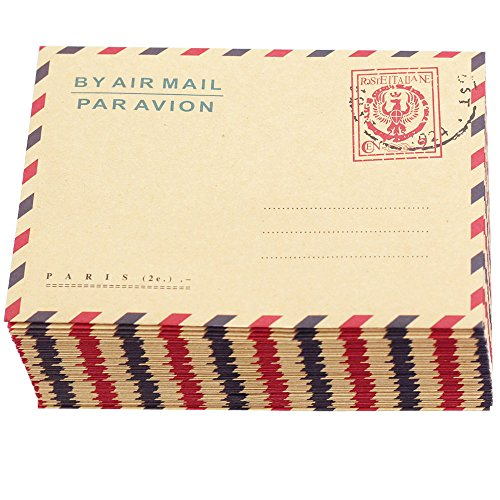 Bolbove Set of 50 AirMail Vintage Style Kraft Paper Postcard Letter Envelopes Invitations (Badge) (Airmail Postcard)