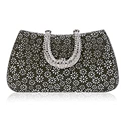 Damara Womens Rhinestones Clasp Hardcase Embossed Evening Party Bag,Gold