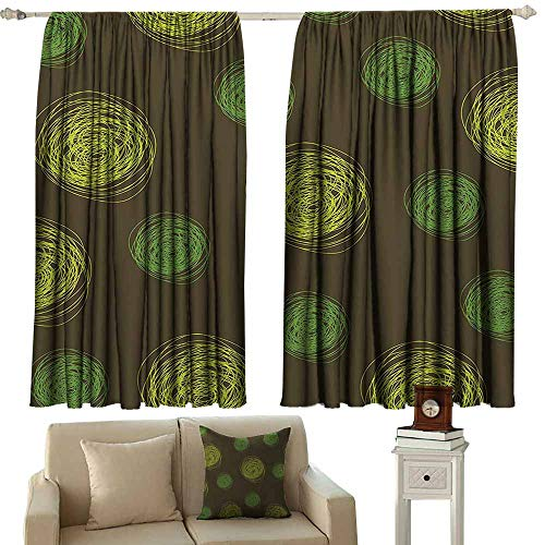 (Anyangeight Thermal Curtains Funny,Round Doodles Spots in Green Tones Spirals Swirled Big Funky Dots Pattern,Chocolate Lime Green 72