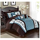 Twin Comforter Sets for Adults Chic Home Clayton 8 Piece Comforter Set Pintuck Pieced Block Embroidery Bed in a Bag with Sheet Set, Twin Blue Brown
