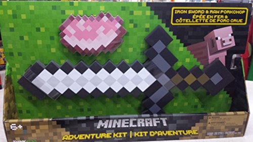 ThinkGeek Minecraft Iron Sword and Raw Porkchop Adventure Kit - Officially-Licensed Minecraft (Minecraft Foam Iron Pickaxe)