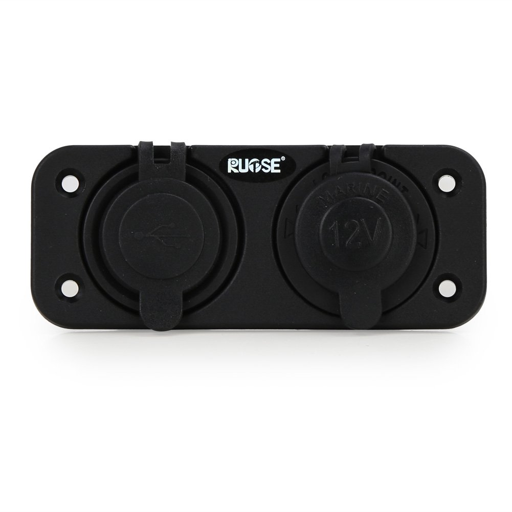 Rupse Dual USB Charger Socket Mount Marine with wires 12 Volt Motorcycle Boat Rv Truck Car Plug Power Outlet