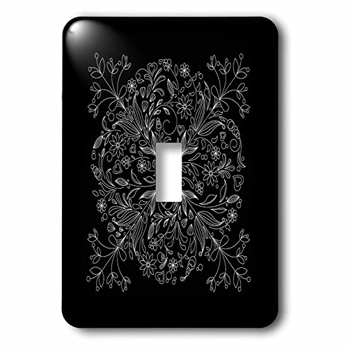 3dRose lsp_78373_1 Pretty Lacey Flower Decorated Square In White On A Black Background Single Toggle Switch Multicolor