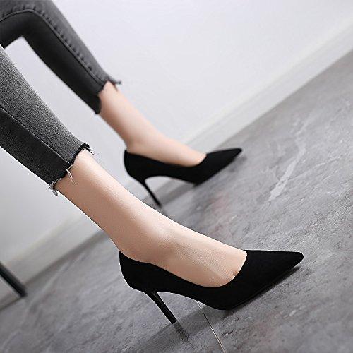 Jqdyl High Heels 2018 Fruuml;hling neue High Heels weibliche Spitze mit professionellen Schuhe wilde Schuhe mit Absauml;tzen  34|Black 8cm