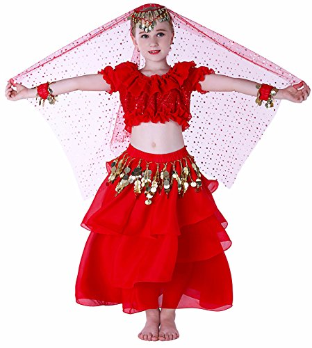 Kids Genie Costume for Girls Arab Princess Belly Dance School Outfits 4T 6 7 8 10 12 14 16 L Red]()