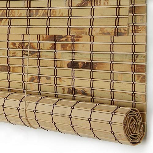 PASSENGER PIGEON Bamboo Window Blinds, Gently Filters Light into Room Roll Up Blinds Shades with Valance, 50