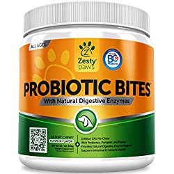 Probiotic for Dogs - With Natural Digestive Enzymes + Prebiotics & Pumpkin - For Diarrhea & Upset Stomach Relief + Gas & Constipation - Allergy & Immune + Hot Spots & Bad Breath Aid - 90 Chew Treats