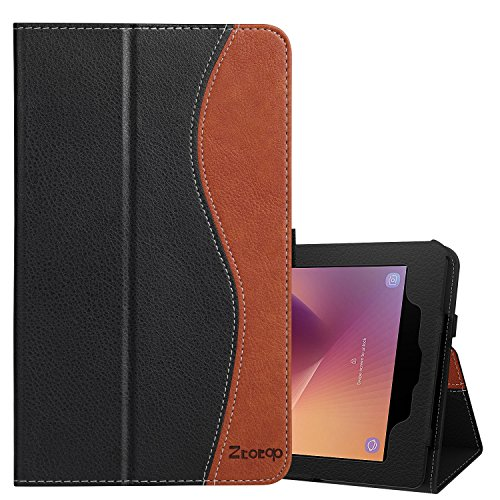 Ztotop Samsung Galaxy Tab A 8.0 Case 2017 Release for T380/T385, Folio Leather Tablet Case with Auto Wake Sleep Feature, Black/Brown