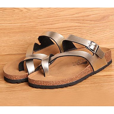 Casual EU34 PU Flat 2 Comfort Comfort Gold UK2 5 5 Women's US4 CN33 Silver Sandals 4 Spring 8IE77q