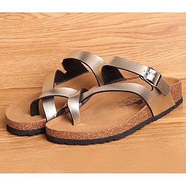 Damen Sandalen Komfort PU Feder Casual Comfort Silber Gold Flat