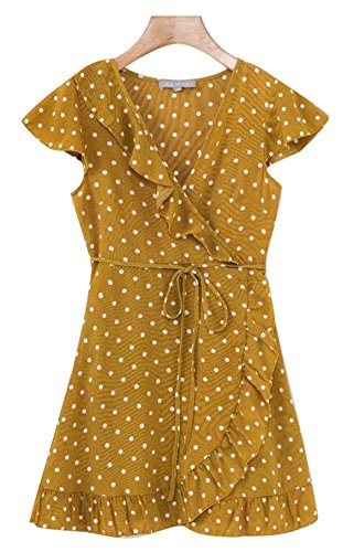 Ababalaya Casual Floral Profond Sexy V-cou Sans Manches À Volants Des Femmes Balancer Mini-robe B07yellow