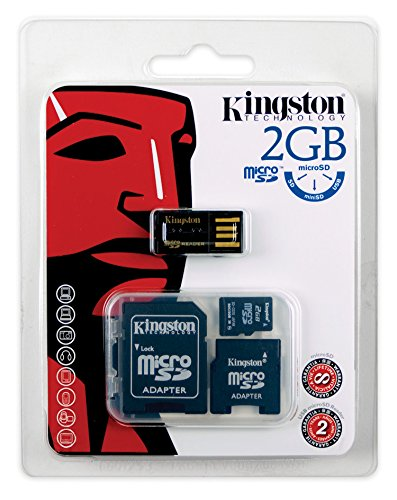 Kingston Mobility Kit - 2 GB microSD Flash Memory Card with SD and miniSD Adpaters + USB Reader MBLYG2/2GB