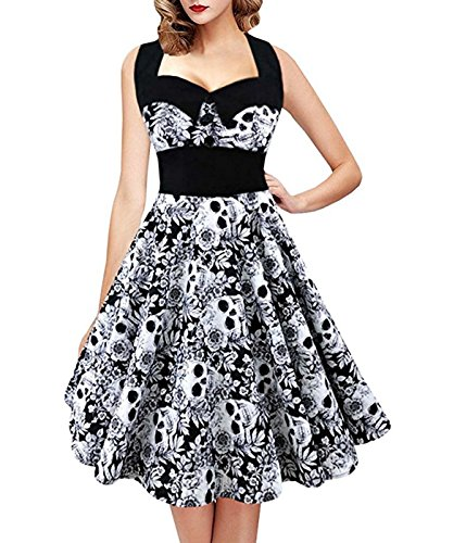 SHYNI Women's Skull Printed Backless Swing Midi Dress Floral Print Halter Cocktail Dress Plus Size for $<!--$20.62-->