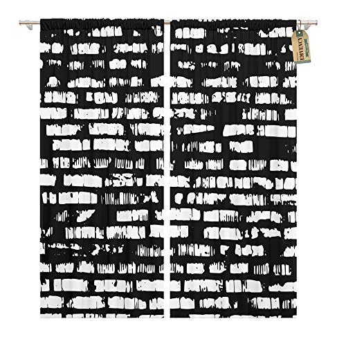 - Emvency Window Curtains 2 Panels Rod Pocket Drapes Satin Polyester Blend Marble Brick Wall Black White Relief Shadow Abstract Living Bedroom Drapes Set 104 x 84 Inches