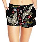 Women's Hot Summer Casual Beach Shorts - Couple Crane Flower - Black