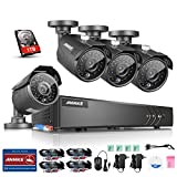 ANNKE 4-Channel HD 720P/1080N Video Security System DVR with 1TB Hard Drive and (4) 1.3MP Wired Bullet Cameras with IR Night Vision and IP66 Weatherproof Housing