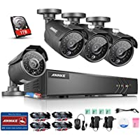 ANNKE 1080P Lite Security Camera System with 1TB Hard Drive and (4) 1.3MP 960P Wired CCTV Bullet Cameras, IR Night Vision and IP66 Weatherproof Housing