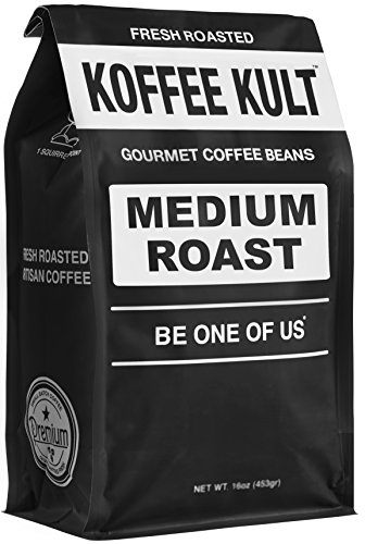 Koffee Kult Medium Roast Coffee Beans, Highest Quality Delicious Coffee, Artisan Blend Freshly Roasted, Whole Bean, 16oz Packaging May Vary