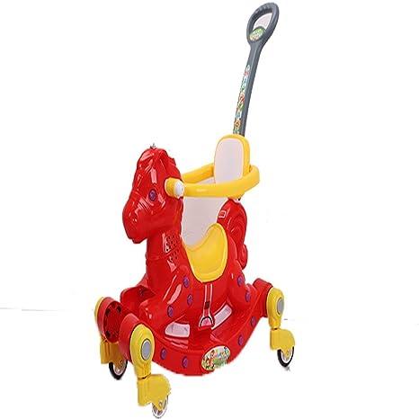 Carro de 4 ruedas para niños, con diseño de caballo de música, multifunción,