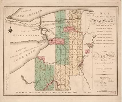 Map Of New York In 1800.Amazon Com 1800 Map Of Two Millions Acres Of Land West Genesee In