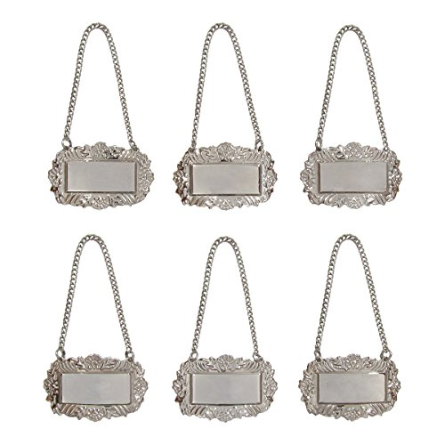 (Silver Floral Blank Decanter Labels Plain Liquor Bottle Label Tag Set of 6)