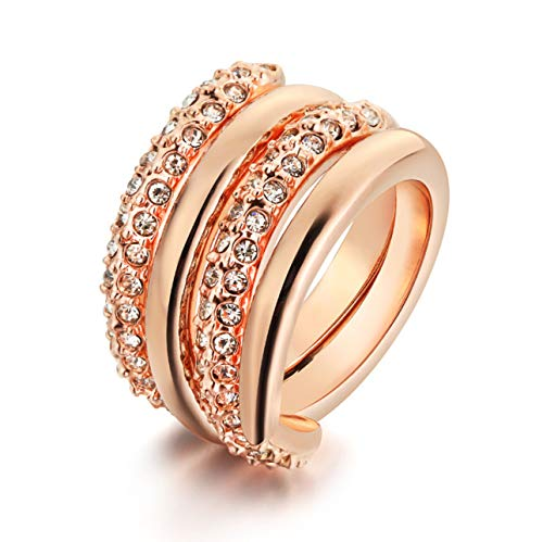 JewelryLand Rose Gold/White Gold Plated Crossover Pave CZ 2 in 1 Statement Ring Set (Rose Gold, 8) ()
