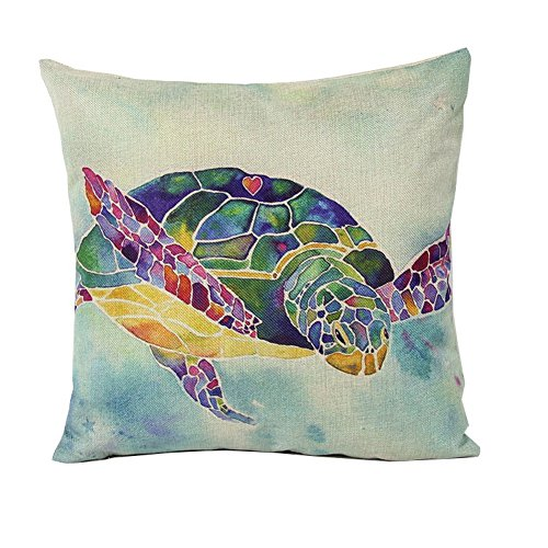 [Crazy Cart Cotton Linen Square Decorative Pillow Covers Colorful Sea Turtle] (Lobster Costume Pattern)
