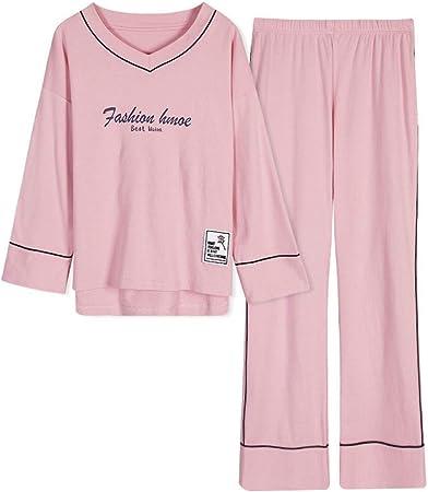 Nuevos Pantalones de Manga Larga para Mujer, Pijama de algodón con Cuello en V y Pijama Gordo MM XL: Amazon.es: Hogar