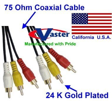 SuperEcable - Three RCA Coaxial Composite TV Audio Video Cable (Male / Male) 35