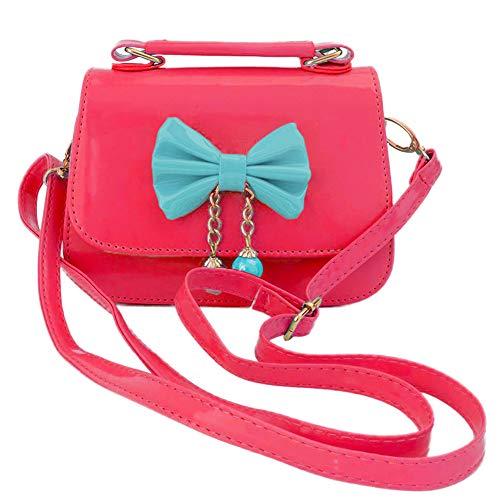 Aligle Cute Little Girls Fashionable Handbag Small Preteen Girls Toy Kid Shoulder Purse Bag Mini Vintage Sweet Bowknot Adjustable PU Casual Messenger Shoulder Shoulder Bag Gift (Red)