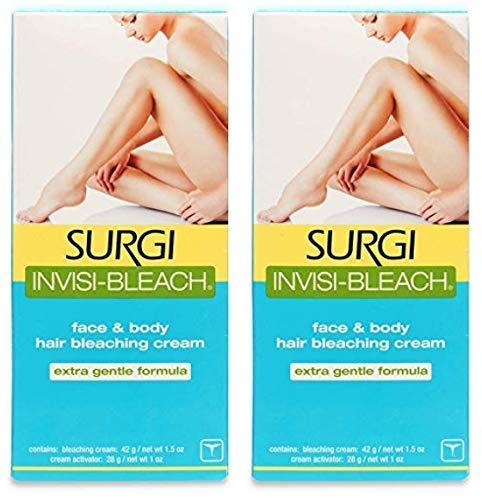 Surgi Invisi-Bleach Face & Body Hair Bleaching Cream 1.5 oz (Pack of 2)